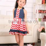 latest style summer spring sleeveless red stripe and blue spot baby clothes fashion design small girls dress