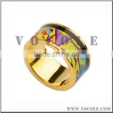 wholesale wide wedding ring Real enamel jewelry pattern rose gold plated wedding steel rings
