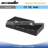4K 3D 1080p Support 1 in 4 out HDMI Splitter Compatible HDCP HDMI Splitter 1x4 1.3V 1.4V