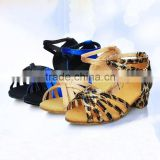 Plus size children dance shoes Leopard latin dancing shoes kids salsa Satin ballroom tango Latin Square dance shoes