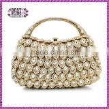 hard top handle gold rhinestone evening clutch bags crystal evening purse stone party handbag purse (8760A-GS)