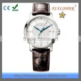 FS FLOWER - 316L Stainless Steel Case Bezel Inserts Wristwatches Mens With Claf Leather Band