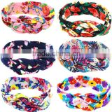 6 colors Fashion Retro baby Elastic Turban Twisted Knotted Headband Ethnic Floral Wide Stretch Girl Yoga Hair Accessories 2016