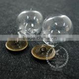 round vintage style bronze bulb vial glass bottle with 20mm open mouth DIY pendant charm glass dome supplies 1810424