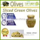 High Quality Sliced Green Olives. Green Olives, Sliced Table Olives 370 ml Glass Jar