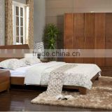 Simple Bed With Solid Wood Frame,Southeast Asian Style Bedroom Wooden Set,Malaysia Bedroom Natural Wood Furniture