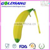 yellow color banana shape silicone pencil bag