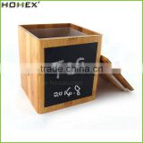 Bamboo Bread Bin Biscuits Tea Coffee Sugar Canister Jar Sets With Bamboo Wooden Lid/Homex_Factory