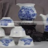 Blue and white porcelain hand painted ceramic tea pot set bone china for home decoration