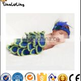 2017 Peacock Set Newborn Baby Infant Toddler Prince Girl Boy Costume Beanie Photography Props Crochet Clothing