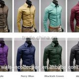 Wholesale walson Luury Men Formal Shirt Long Sleeve Slim Fit Business Dress Shirts Solid Cotton apparel