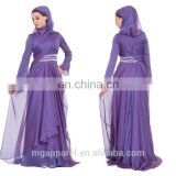 latest muslim women formal dress patterns purple silk chiffon maxi dress long sleeve muslim evening dress with hijab