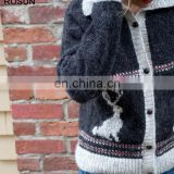 Wool ugly christmas sweater design for girl with jackalope patterns of loose fit wholesale clothing direct from China
