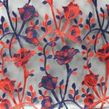 China manufacture red and deep blue parch flower embroidered lace fabric for dress