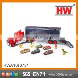 Hot Sale 52CM Friction truck trailer with 6pcs diecast cars and dinosaur music toy trailer plastic