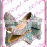 Aidocrystal handmade colorful crystal wedding party wedges shoes and bag set