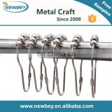 Footprint metal shower curtain hook with roller beads for bathroom