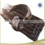 Natural cheap top grade virgin colored ombre clip in hair extensions