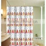 Lovely Owls printed fo children 100% polyester shower curtain for hotel, family, waterproof bath curtain