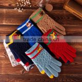 The new winter knitting gloves female touch Fashionable jacquard pure color warm lady finger gloves, Full Finger gloves