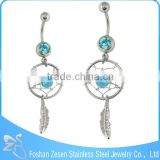 Blue Crystal Antique Style Dream Catcher Belly Naval Dangle Body Jewelry
