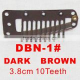 DBN-1# Retail and wholesale 38mm long Dark Brown color straight 10 teeth easy snap clips for hair extensions wigs wefts weavings
