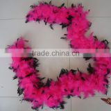 Wholesale Feather Boas 40G Pink With Black Tips Chandelle Feather Boa Dress Up