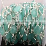 AAA Beautiful Natural Aqua Chalcedony Oval shape Bezel Continuous Connector Chain 10-15mm In 925 Silver Plated Wire by foot
