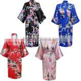 10 Colors Women Peacock Kimono Robe Silk Pajamas Girl Sleepwear Summer Yukata with Belt China Factory Direct Supply offer OEM