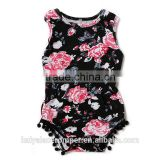 wholesale baby girl clothes romper black fabric flower printing newborn baby cotton clothing