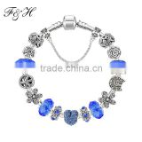 2015 Fashion Jewelry Rhinestone Heart Charm And Crystal Murano Glass Beads Fit European Style Charm Bracelet
