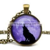 Howling Wolf with Real Full Moon--DIY special antique bronze 2.5cm round,18inch chain art photo glass dome pendant necklace