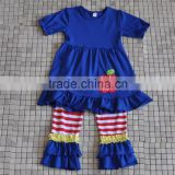 Boutique back to school toddler girls apple embroidery match stripe ruffle pants outfits