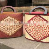 High quality best selling bamboo shopping handbag with plactic handle