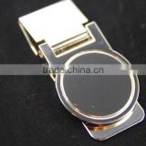 New Shiny Finish Custom Logo Metal Money Clip Spring Clip with customized round logo for promotion