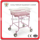 SY-R034 Hot sale Pink Stainless Steel Hospital simple Baby Bed infant bed
