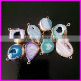 KJL-A130 Small Size Mix Color Geode Quartz Druzy Stone Connector,Jewelry Agate Pendant Charm