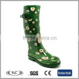 fashion low price knee flower green pvc rain boots