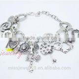 Fashion Silver Jewelry Bracelet with Charms Diamonds Heart Key Flower 2016 New Fantasic Cool Style Best Selling