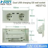 On -Off Operations Exceed 40000 times New Europe 220V Germany Type Schuko Type USB Wall Socket with Earth Contact