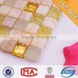 yellow jade hot melting glass mosaic glass stone mosaic wall tile snow white pebble mesh mosaic tile