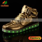 Silver and Gold color wholesale custom rubber and PU material big sizes cheap LED high top shoes for night running
