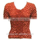 Hot sell free size popcorn crush elastic shirring top