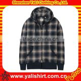 Custom popular high quality casual cotton plaid plus size double-sided zipper cordura jackets