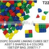 250 pcs Square Linking Maths Cubes Blocks toys