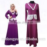 purple patched sunshine hemp muslim dress/ lqg muslim islamic fashionable abaya kaftan dresses/fancy dl islamic muslim dress
