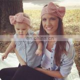 Mix color knitting butterfly bow Parent-child outfit headband hair adult children tire cotton hair band