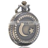 Vintage Fashion Ladies Stars Moon Flip Pocket Watch Necklace Chain Watch