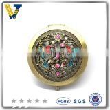 Customized round shaped metal pocket mirror with logo