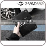 Black Genuine Nappa Leather Snap buttons Men Mobile Phone Case Phone Purse Small Wallet with Card Slots